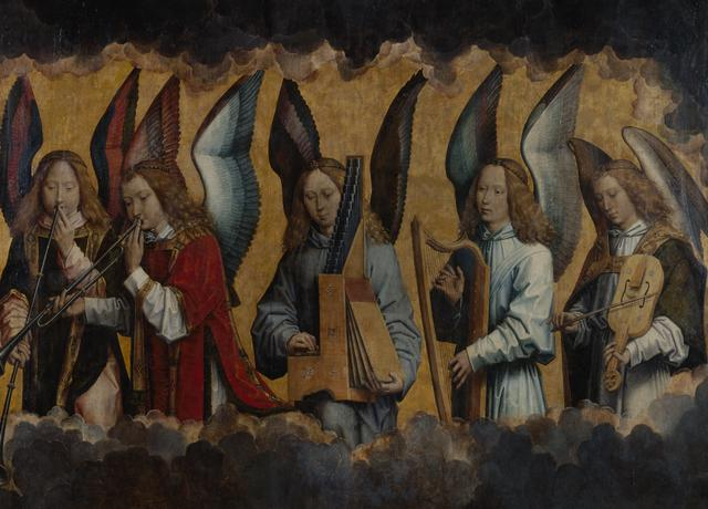 Op het rechterpaneel opnieuw musicerende engelen. We herkennen de rechte trompet, trompet in lusvorm, draagbaar orgeltje, harp en vedel. © KMSKA