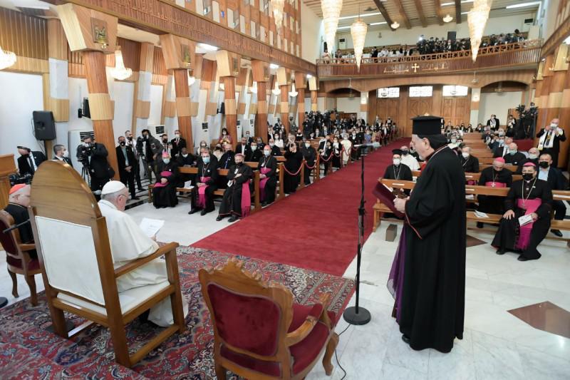 De Syrisch-katholieke patriarch vroeg de zaligverklaring van de 48 martelaars, die in de kerk werden vermoord. © Vatican Media