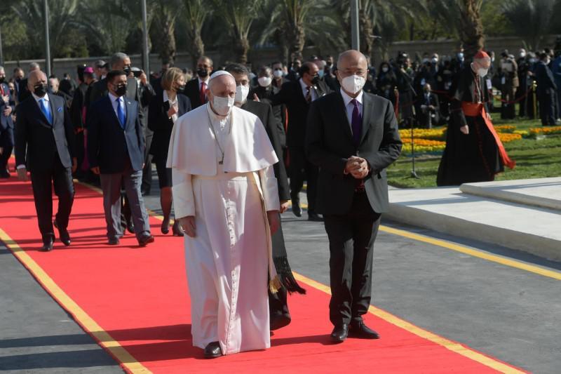 Met de Iraakse president Barham Salih © Vatican Media