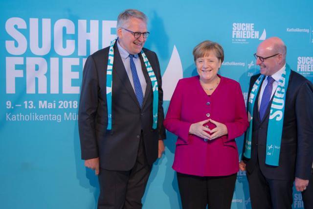 Bondskanselier Merkel was zowel aanwezig tijdens de debatten, als tijdens de slotviering van zondag © katholikentag.de/Nadine Malzkorn