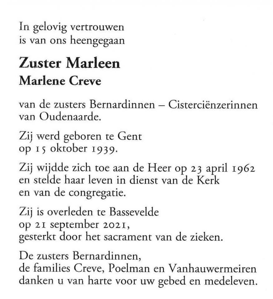 gedachtenisprentje zr Marleen © zrs Bernardinnen
