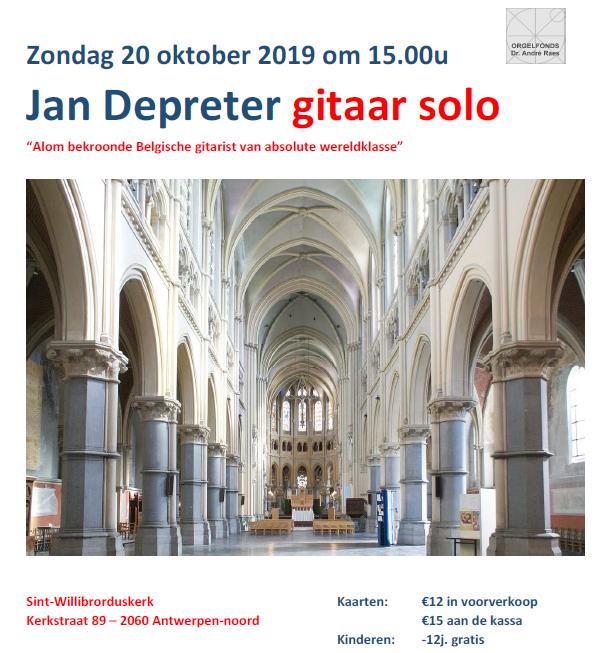 Gitarist Jan Depreter treedt op in de Sint-Willibrorduskerk in Antwerpen